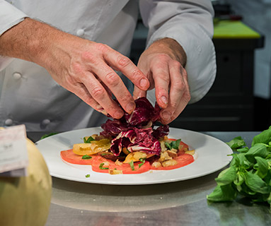 Theo Randall Chioggia salad finishing touches